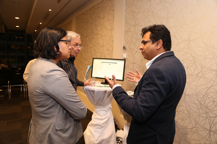 Sameer Goel, Director of Product Management, Freshdesk, is seen giving a demonstration at the Customer Happiness Tour, Toronto.