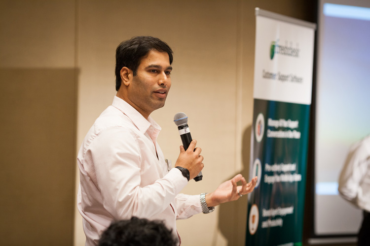 Nishant Rao, Global COO, Freshdesk, speaking at the Customer Happiness Tour, Sydney.